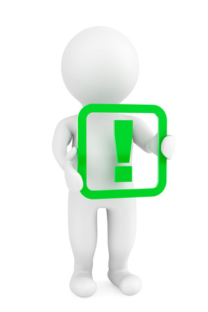 3d person with a exclamation mark on a white background photo