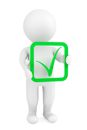 3d person with green positive symbol in hands on a white background photo