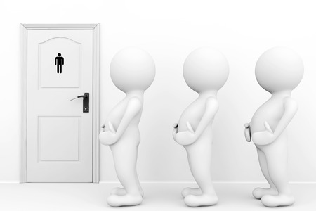 3d persons mans need a toilet waiting in front of restroom sign photo