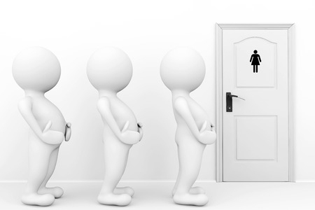incontinence: 3d persons womans need a toilet waiting in front of restroom sign