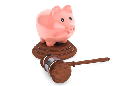 judicial: Judicial gavel and piggy bank on a white background Stock Photo