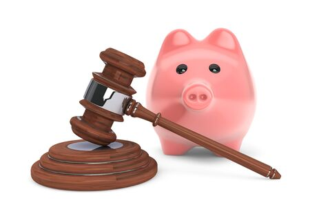 arbitration: Judicial gavel and piggy bank on a white background Stock Photo