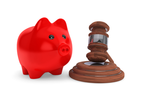 Judicial gavel and piggy bank on a white background photo