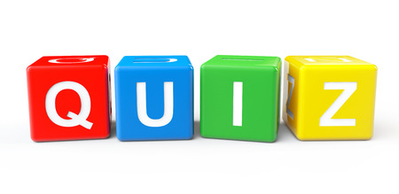 quiz test: Toy cubes as Quiz sign on a white background