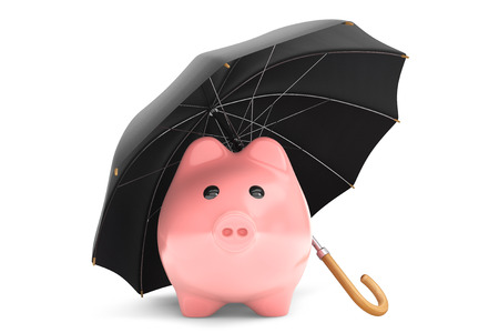 Wealth protection concept. Piggy Bank under umbrella on a white background 版權商用圖片