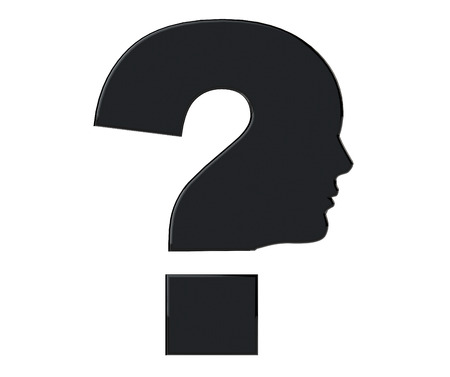 Human head as Question mark symbol on a white background photo