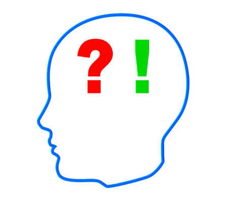 Contour of the head with question and exclamation marks on a white background photo