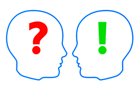Contours of the heads with question and exclamation marks on a white background photo