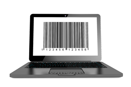 Online shopping concept. Modern Laptop with bar code on the screen on a white background photo