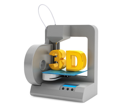 prototipo: Concepto de la tecnología. Moderno Inicio impresora 3D crea objetos sobre un fondo blanco Foto de archivo