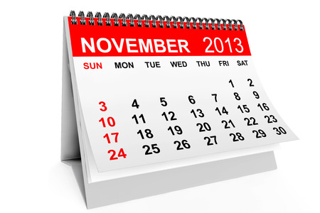 november calendar: 2013 year calendar. November calendar on a white background  Stock Photo