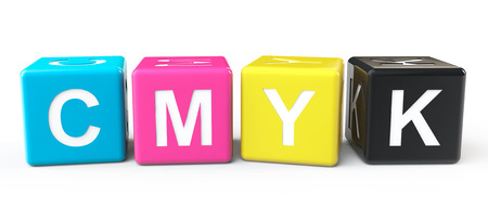 Cube Blocks with CMYK sign on a white background