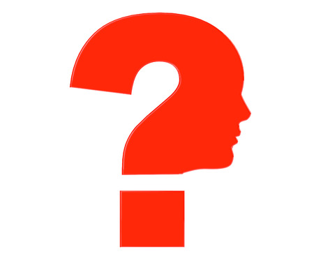 Human head as Red Question mark symbol on a white background photo