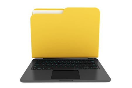 Laptop computer with folder as screen on a white background