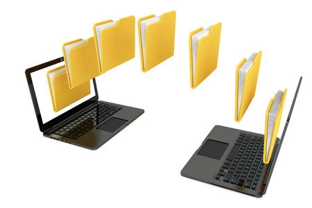 downloading content: Two laptop computers with folders transferring between each other on a white background Stock Photo