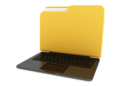 Laptop computer with folder as screen on a white background photo