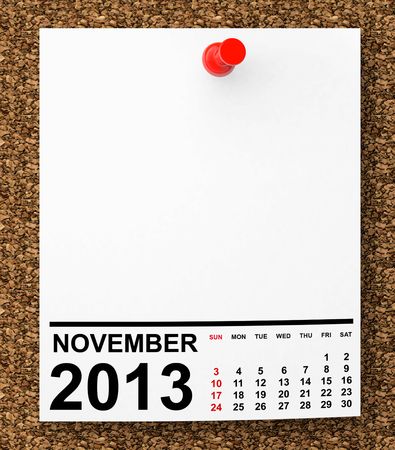 Calendar November 2013 on blank note paper with free space for your text photo