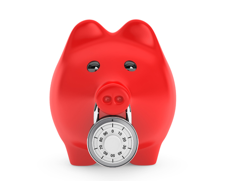 Piggy bank secured with combination lock on a white background photo
