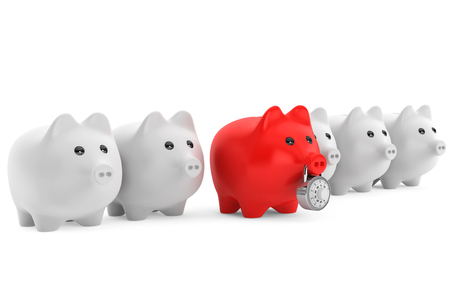Piggy bank in row with one red secured with combination lock on a white background photo