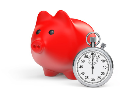 Time Save Concept. Red Piggy Bank with Stopwatch on a white background photo