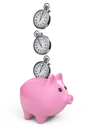 Time Save Concept. Piggy Bank with Stopwatch on a white background photo