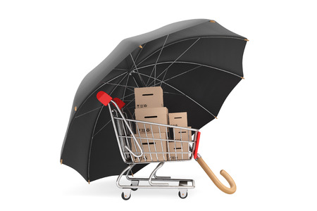 Logistics concept. Shopping cart with boxes being protected by an umbrella on a white background 版權商用圖片