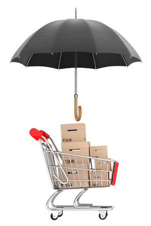 Logistics concept. Shopping cart with boxes being protected by an umbrella on a white background photo