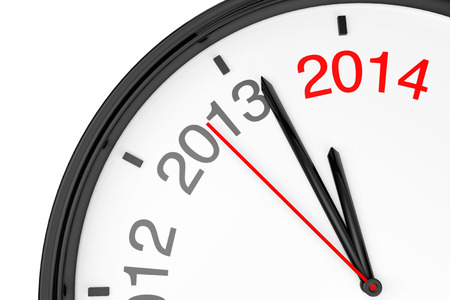 anticipating: The year 2014 is approaching. 2014 sign with a clock on a white background