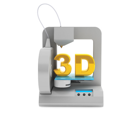 printed work: Technology concept. Modern Home 3d printer make object on a white background