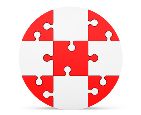 Red and white puzzles as circle on a white background photo