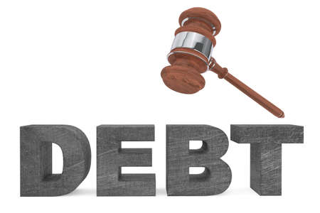 judicial: Judicial gavel and Debt sign on a white background Stock Photo