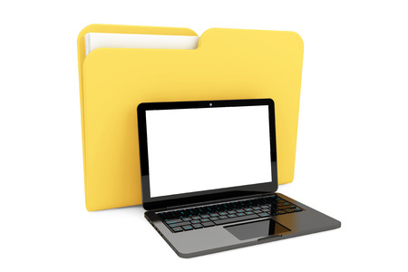 Laptop computer with folder on a white background photo