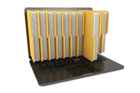 Ordenador portátil con carpetas sobre un fondo blanco Foto de archivo - 23272627