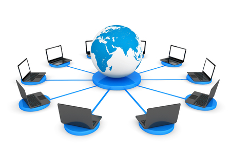 Connect To The World Wide Web Concept. Laptop computers with Earth Globe on a white background photo