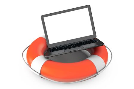 Electronic Service concept. Modern Laptop with Life Buoy on a white background photo