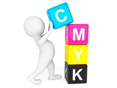 3 d の人が白い背景に CMYK のキューブを配置すること 写真素材