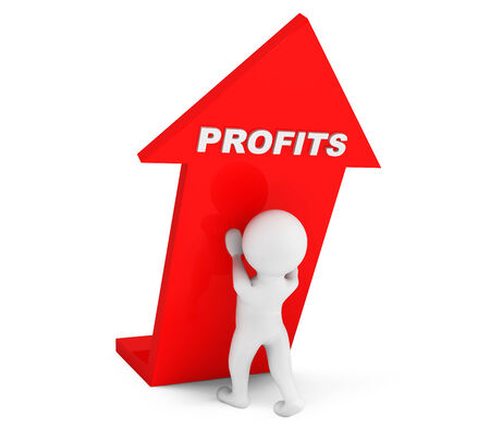 3d person with Profits Arrow on a white background photo