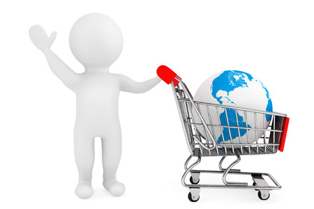 3d person with shopping cart and Earth Globe on a white background photo