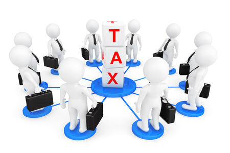 obligation: 3d person businessmans with tax cubes on a white background