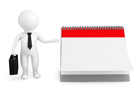 3d person businessman with blank calendar on a white background photo