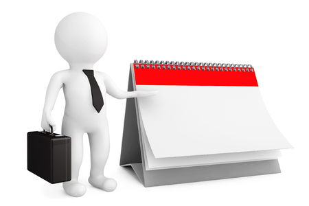 3d person businessman with blank calendar on a white background Stock Photo - 23308694