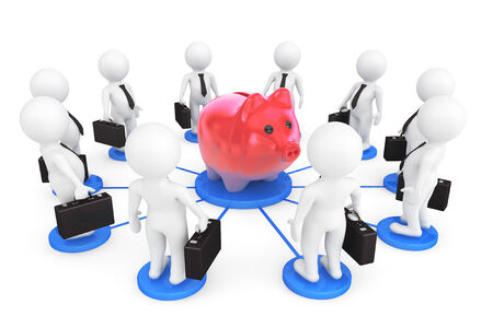 3d person businessmans around Piggy Bank on a white background photo