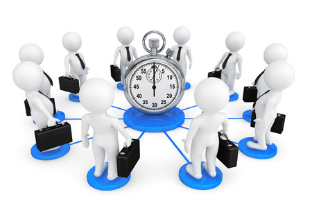 3d person businessmans around Stopwatch on a white background photo