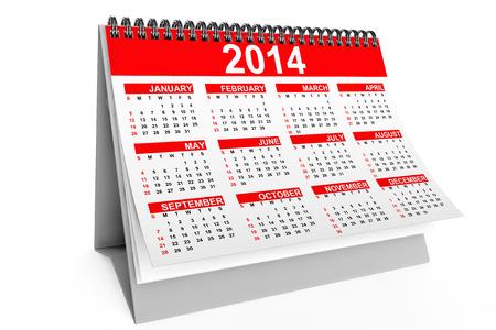 白い背景に 2014 年卓上カレンダー