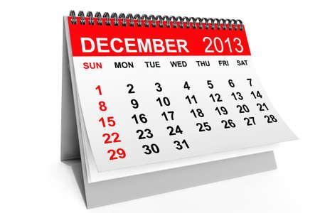 december calendar: 2013 anno di calendario. Dicembre calendario su uno sfondo bianco