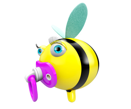 Cartoon Bee with pacifier on a white background photo