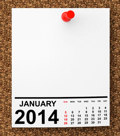 Calendar January 2014 on blank note paper with free space for your text photo