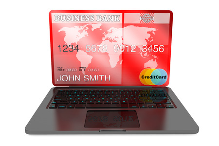 E-commerce Concept. Laptop computer and Credit Card on a white background Stock Photo - 24131617