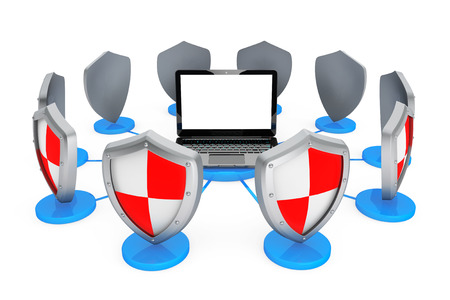 Antivirus concept. Laptop computer protected by shields on a white background photo