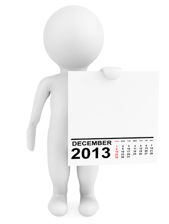 Character holding calendar December 2013 on a white background photo